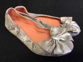 Jay Adoni Anthropologie Leather Snakeskin Ballet Flats Bow Gold Size 6 M - $39.99