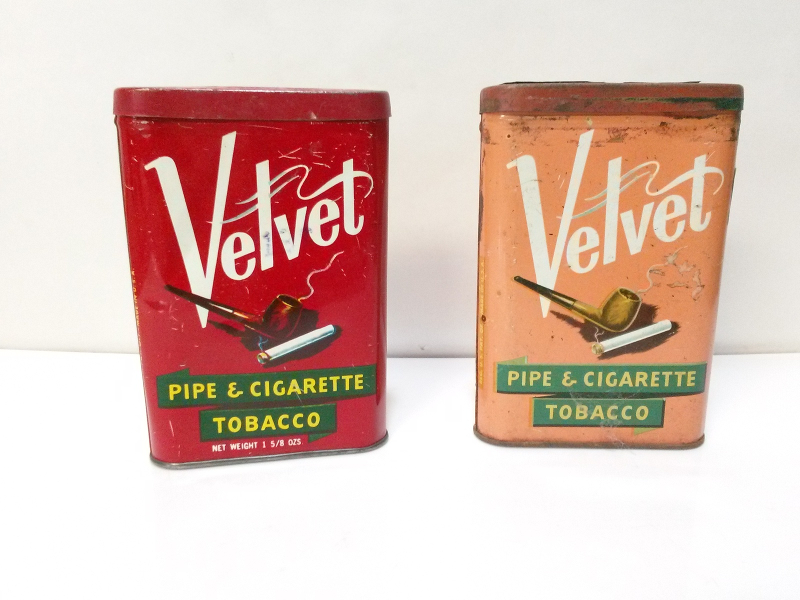 2 Vintage Velvet Pipe and Cigarette Tobacco Pocket Tins 1-3/4 oz. Empty .19Cents