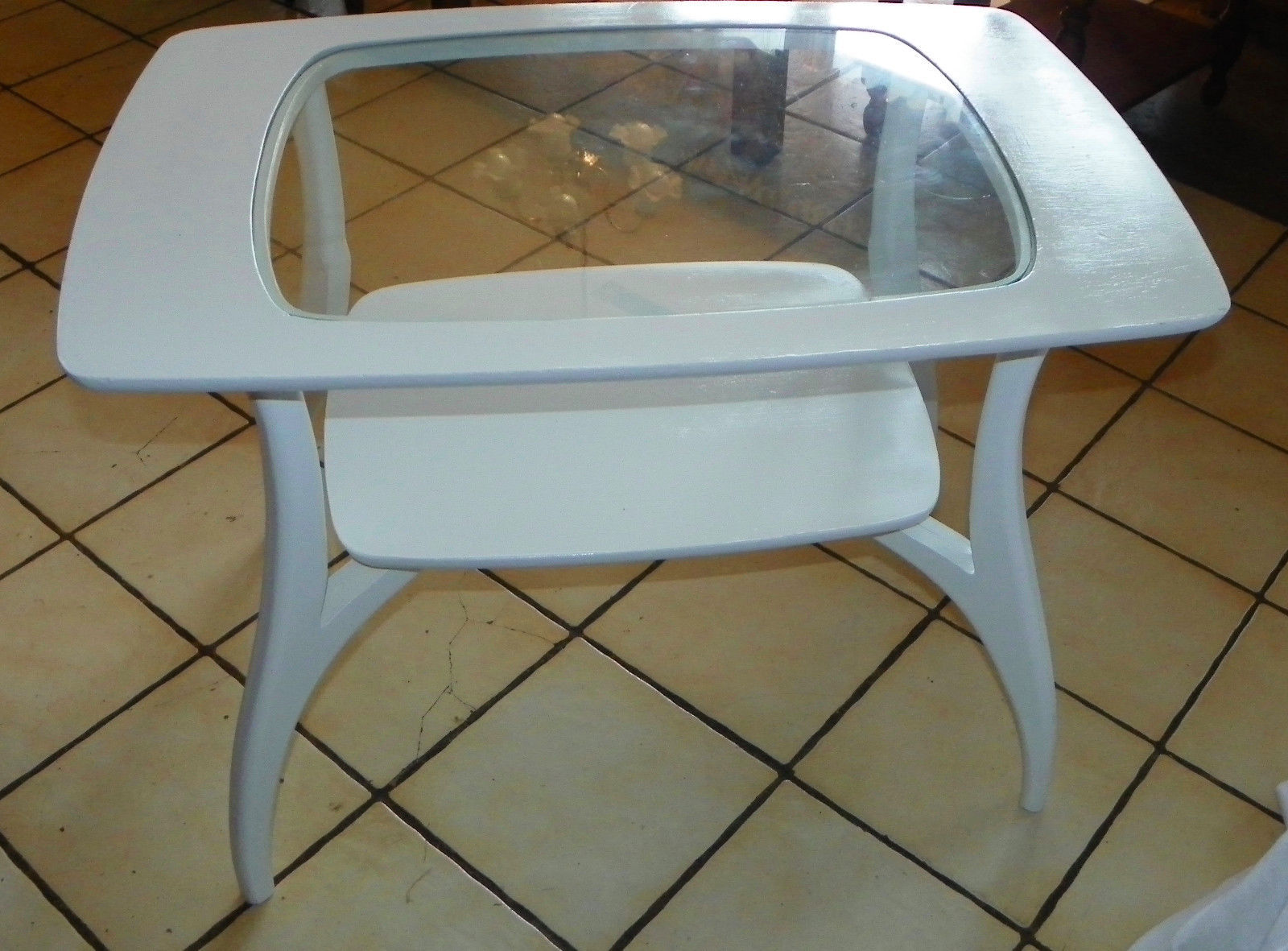 White Mid Century Glass Top Coffee Table