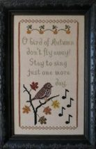 Bird of Autumn seasonal cross stitch chart Stitches Through Time  - $10.80