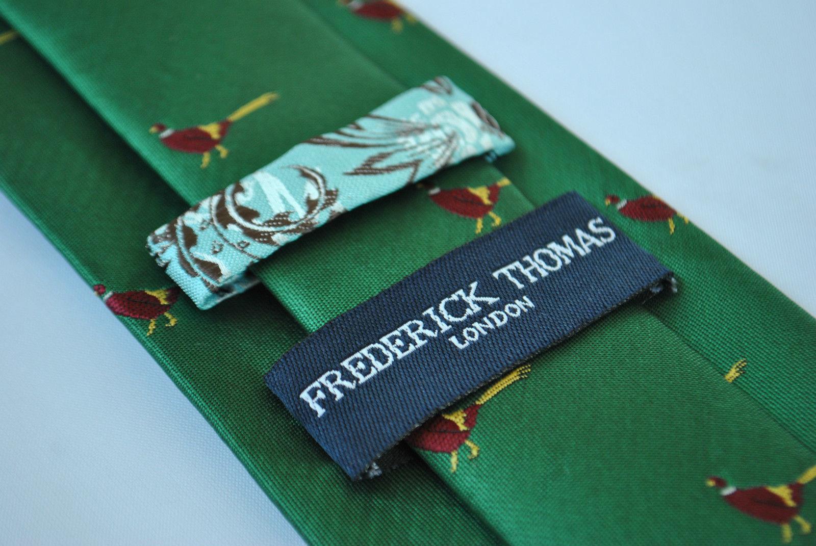 Frederick Thomas Verde Oscuro Hombre Corbata Con Faisán Diseño ft1920 CAZA