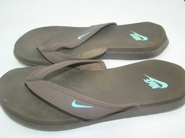 Vintage Nike Flip Flops Sandals Thongs Brown Blue Swoosh 344087-240 Wome... - $18.69