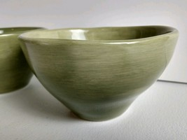 "Set - 2 Tabletops Unlimited Bahamas 6.5"" Cerial Bowls Hand Painted Celadon Green - $24.02"