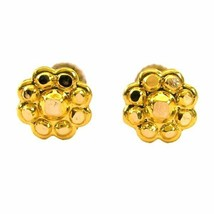 Ethnic Indian 14k Solid Real Gold Studded EAR Studs PAIR Silver Push Back - $42.75