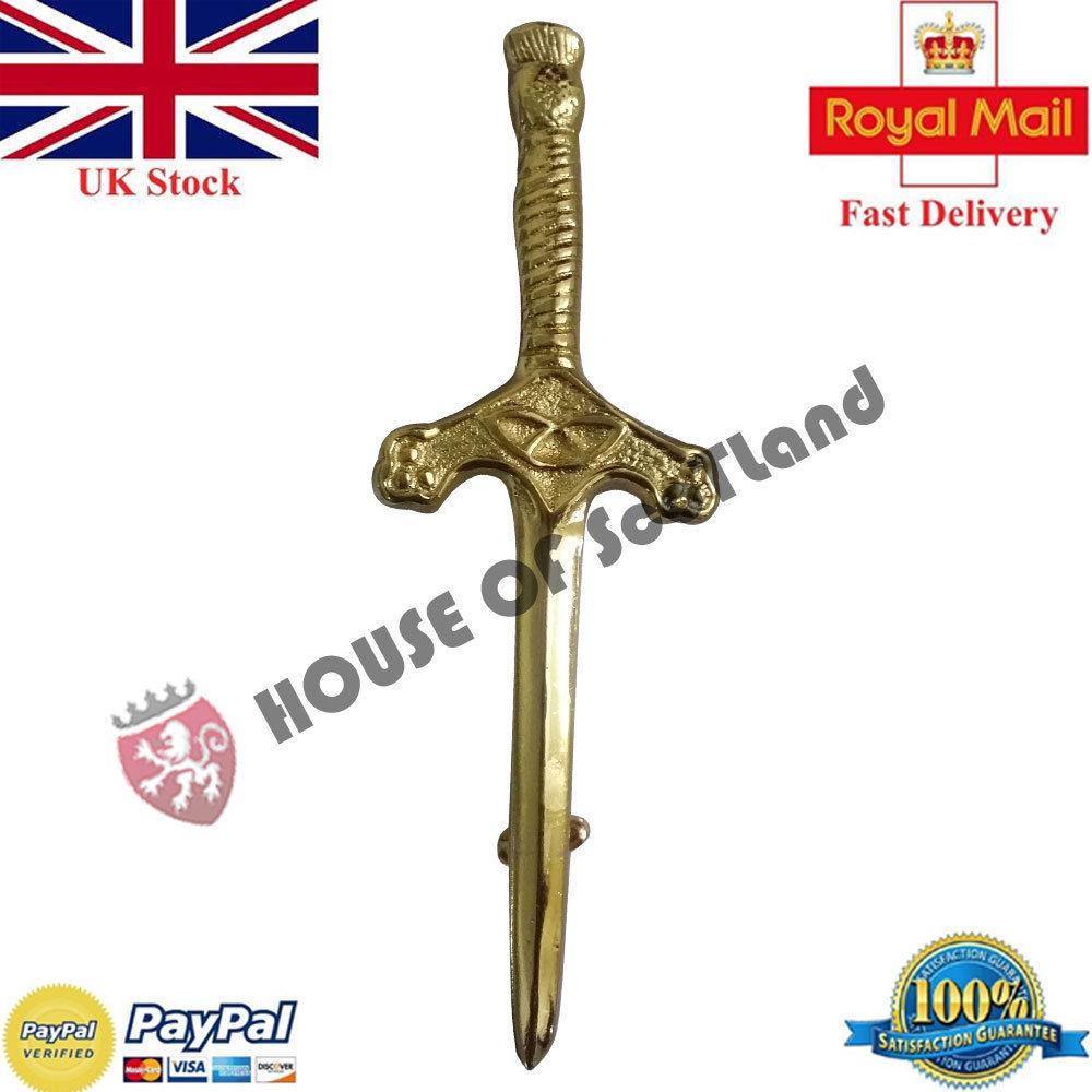 Scottish Kilt Pin Chrome Finish Highland Thistle Symbol Kilt Pin