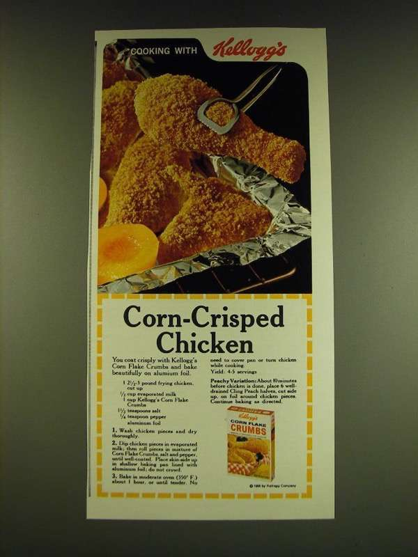 1966 Kellogg's Corn Flake Crumbs Ad - Corn-Crisped Chicken