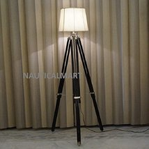 NauticalMart Black Tripod Floor Lamp In Mango Wood - $127.71