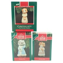 Kitty Cat Porcelain 1 2 3 Set Vtg Christmas Tree Keepsake Ornament Lot I... - $17.79