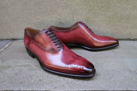 Men's Oxford Maroon Brogue Toe Burnished Lace Up Vintage Leather Handmad... - $129.99+