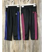 Adidas Girls Size 5 Pants Sweats Activewar Lot of 2 Black Pink Blueish P... - $24.74