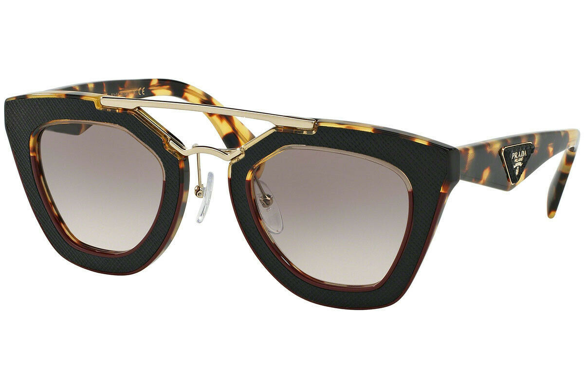 PRADA ORNATE SAFFIANO LEATHE PR14SS VHC4K0 Havana Amaranth Pink Grey Sunglasses