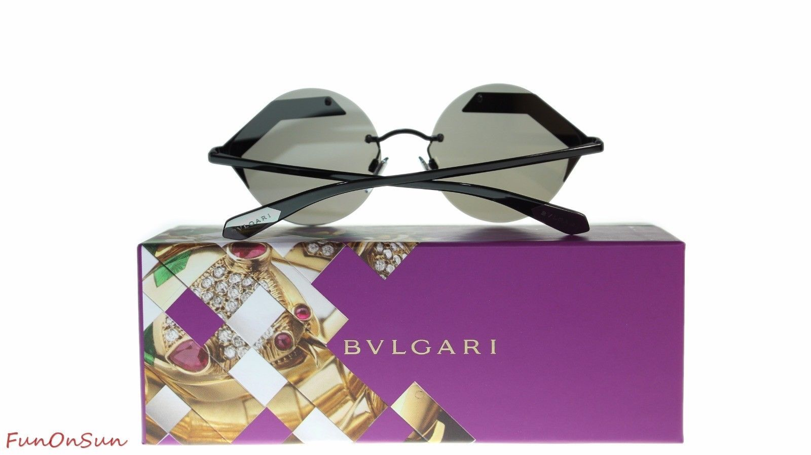 BVLGARI Women's Round Sunglasses BV6089 128/6G Matte Black/Light Grey Lens 55mm