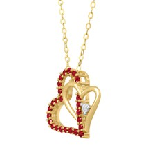 10k Yellow Gold Fn Round Cut Red Garnet Double ... - $58.97