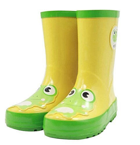 Cute Starry Kids' Rain Boots Yellow Frog Children Rainy Days Shoes 17.2CM