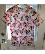 Disney Mickey Minnie Mouse Womens L Scrubs Top Love Hearts Valentine's Day - £19.35 GBP