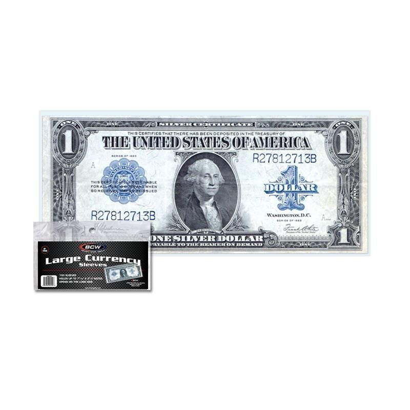 1 Case of 100 packs (10,000) Large Bill Currency Sleeves
