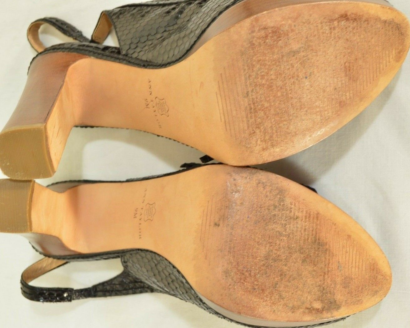 Ann Taylor shoes heels 9M platform black leather snakeskin high chic career image 9
