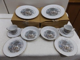 """NEW Two  5pc Place Setting Currier and Ives """"Old Grist Mill"""" Vintage Fsc... - $5,848.84"""