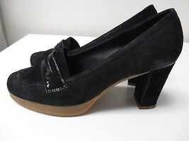 NARA SHOES Black Suede Loafer Classic Pump Heels W Rubber Soles See Meas... - $25.65