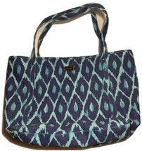 Stella & Dot Turquoise Blue ikat Print Large Shopper Tote Bag Canvas Den... - $29.88