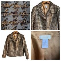 Chico's Blazer Jacket Sz 1 M Boxy Three Btn Brown Silver Metallic Notch ... - $36.62