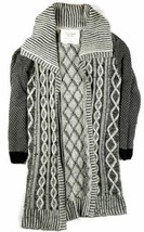 Small Women's California MoonRise Long Length Sweater Open Front Cardigan Birch