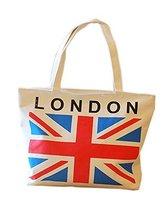 Black Temptation Letter & Flag Design 1207 Canvas Beige Shoulder Bag