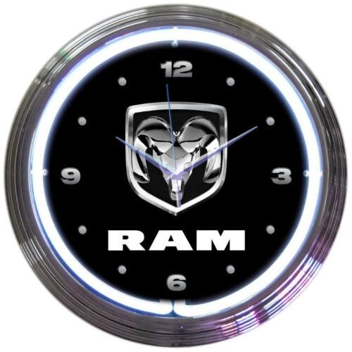 "Primary image for Dodge Ram Truck Car Garage Neon Clock 15""x15"""