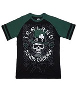 IRELAND IRISH MADE HONOR COURAGE UNISEX MEN OR WOMEN'S BLACK COTTON T-SH... - $10.97