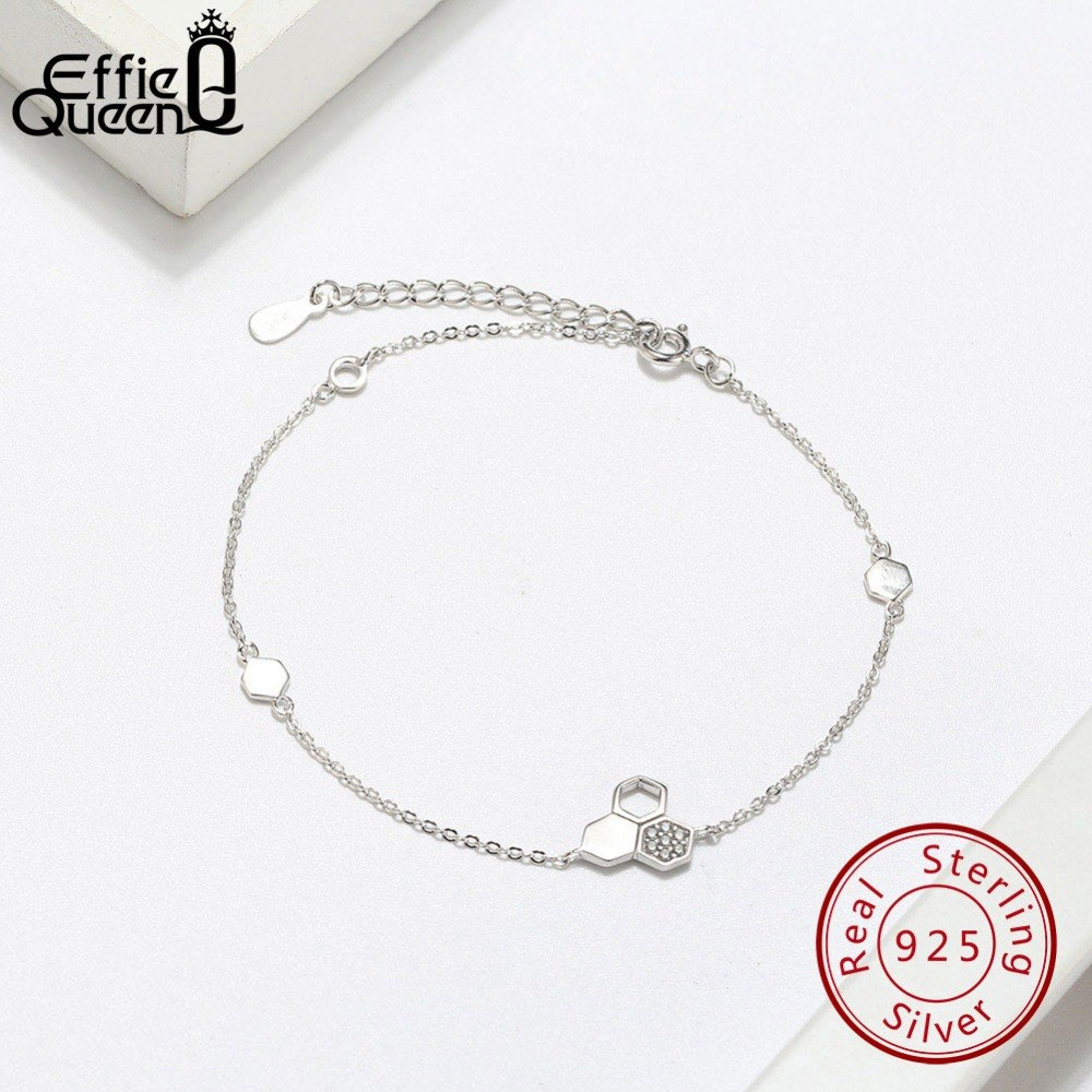 Effie Queen Real Silver 925 Bracelet For Woman Honeycomb Bee With AAA CZ 100% St