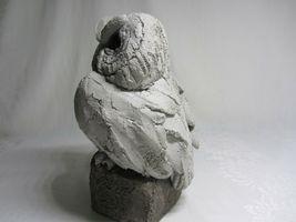 Handcrafted Cement Concrete Owl Figurine Vintage Garden Sculpture Rustic Art image 9