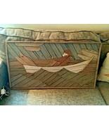 Vtg Mid Century Lath Art Wood Slat Art Fisherman fis Row Boat Theodore  ... - $199.99