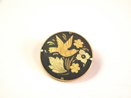 Vintage Damascene Pin Bird Flowers Foreign Clasp - $13.49