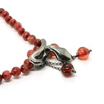 925 Sterling Silver Necklace with Snake Burnished and Jasper, Made in Italy By image 4