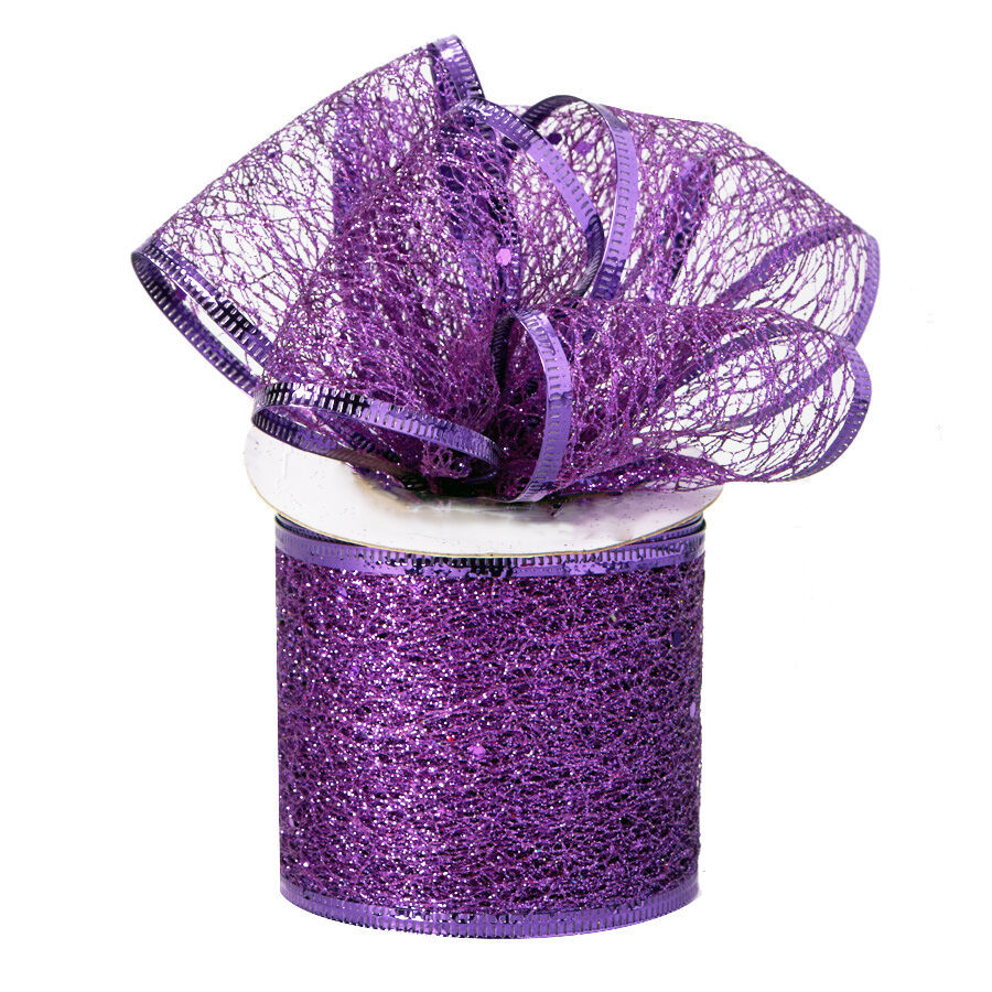 Decorative Tulle Glitter Mesh Wrap Wired Ribbon Roll 2.5 inch x 10 Yard, Purple - $8.86