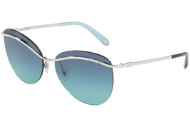 5d6744df64d Authentic Tiffany  amp  Co Sunglasses TF3057 6047 9S Silver Frames Blue Lens .