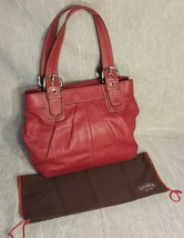 Genuine Leather Coach Shoulder Bag Red with Silver Hardware G1060-F15045 - $79.19