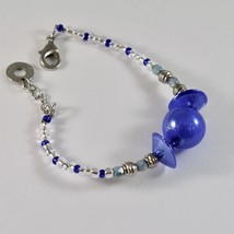 Bracelet Antica Murrina Venezia with Murano Glass Discs Spheres Blue Adjustable image 2
