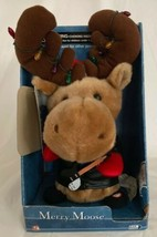 Gemmy Plush Christmas Light Up Merry Moose Jingle Bell Rock Animated Sin... - $24.74