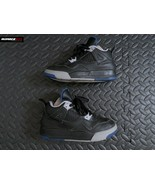 Nike Air Jordan IV 4 Retro Black Game Royal Motor Youth Size 12.5C 30849... - $59.39