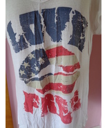 Deb Womens 3X Love Free Red White & Blue Cold Shoulder White Top 42050  - $21.99