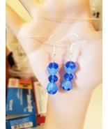 blue bead drop dangles earrings flowers acrylic glass handmade jewelry - $2.99