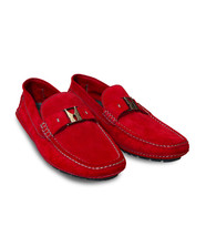 Moreschi Men's Red Suede Driver Moccasins Shoes with Logo, 5.5(6.5 US), 6(7 US) - $330.00