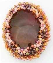 Beaded Agate Artistic Brooch - $10.10