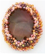 Beaded Agate Artistic Brooch - $10.10