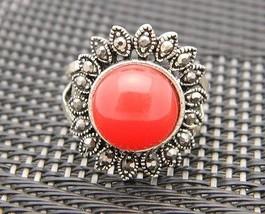 VTG Silver Tone Red Cabochon Marcasite Sunburst Ring Size 5.5 - $14.85