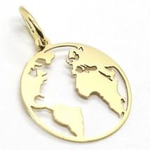 Gelb Gold Anhänger 750 18K, Weltkarte Gerade, Perforiert, 16 MM - $119.77