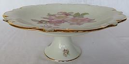 Vintage Schumann Arzberg Wild Rose Golden Crown Round Cake Plate Bavaria... - $40.00