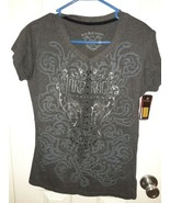 Hard Rock Cafe Couture Women's Gray Sz M Top Nwt Bling  - $29.69