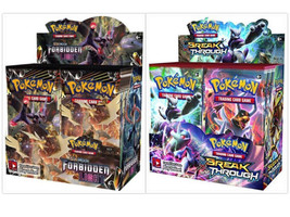 Pokemon TCG Sun Moon Forbidden Light + Breakthrough Booster Box Card Game Bundle - $224.99